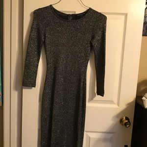 Long silver/black French connection dress